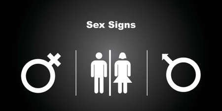 3 Sex Icons on Black Background  Vector