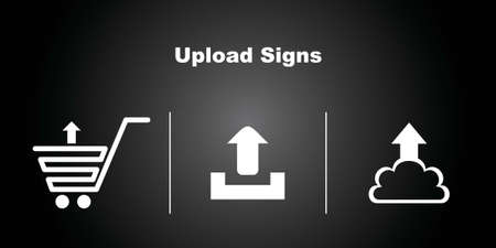 3 Upload Icons on Black Background  Vector