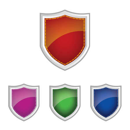 Glossy Colourful shield Vector