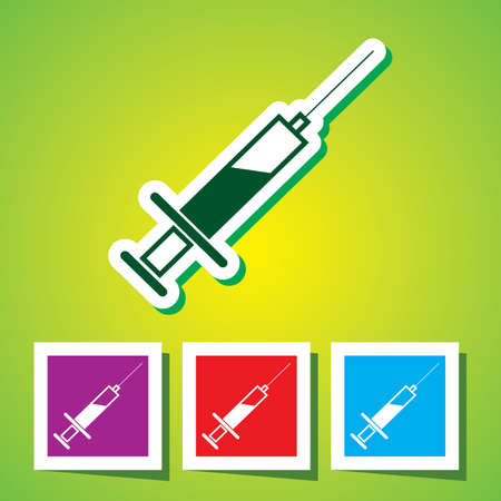 Colourful editable icon of Medical syringe with vaccine - Vector icon  Vector