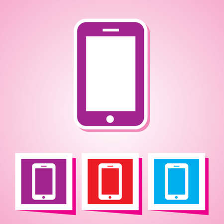 Colourful editable icon of mobile phone Vector Illustration Stock Vector - 26234354