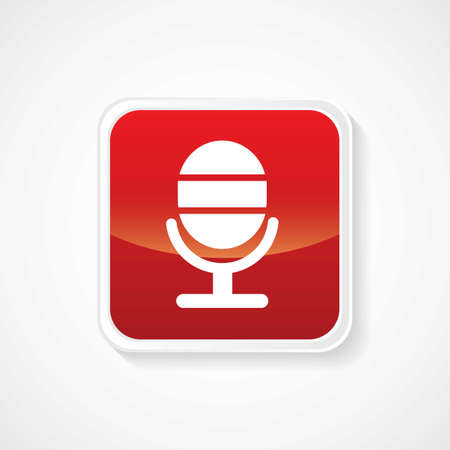 Icon of microphone on Red Glossy Button  Vector