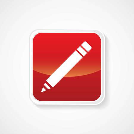 Icon of on Pencil  Write  Red Glossy Button  Vector