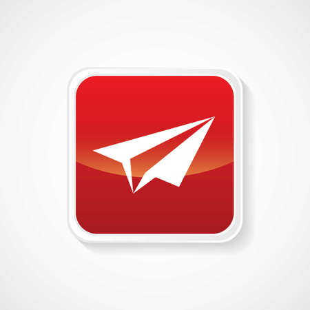 Icon of Send on Red Glossy Button   Vector
