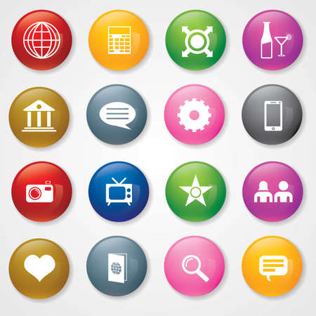 Web and Mobile Icons On 3D Buttons  Eps-10 Stock Vector - 26449209