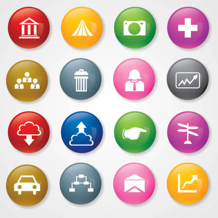 Web and Mobile Icons On 3D Buttons  Stock Vector - 26449222