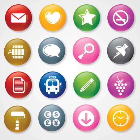 Web and Mobile Icons On 3D Buttons  Illustration