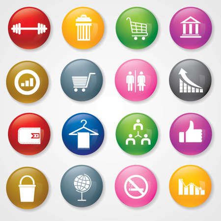 Web and Mobile Icons On 3D Buttons   Vector