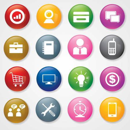 Web and Mobile Icons On 3D Buttons Stock Vector - 26449232