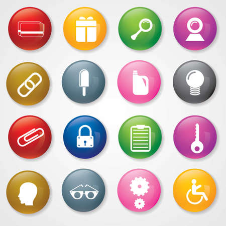 Web and Mobile Icons On 3D Buttons Stock Vector - 26449231