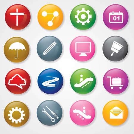 Web and Mobile Icons On 3D Buttons Stock Vector - 26449230