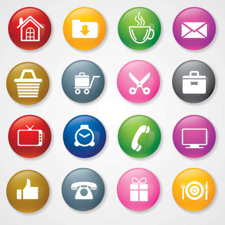 Web and Mobile Icons On 3D Buttons