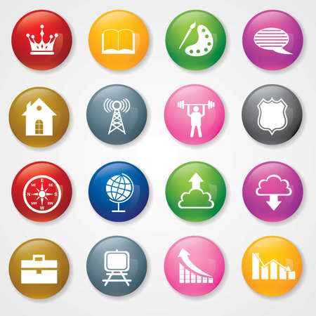 Web and Mobile Icons On 3D Buttons   Stock Vector - 26449239