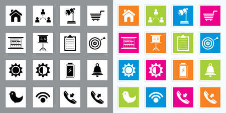 Very Useful   Attractive Colorful Icons For Web   Mobile on Buttons Stock Vector - 26449285