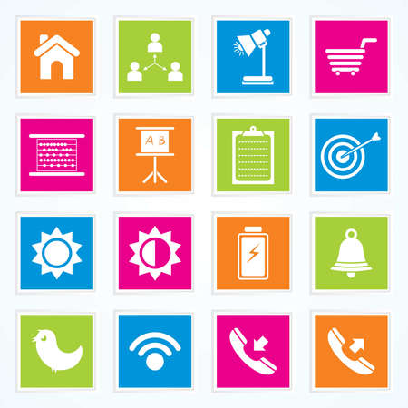 Very Useful   Attractive Colorful Icons For Web   Mobile on Buttons Stock Vector - 26449287