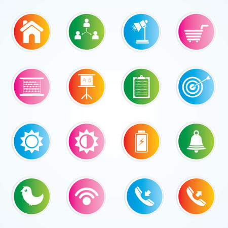 Very Useful   Attractive Colorful Icons For Web   Mobile on Buttons Stock Vector - 26449289