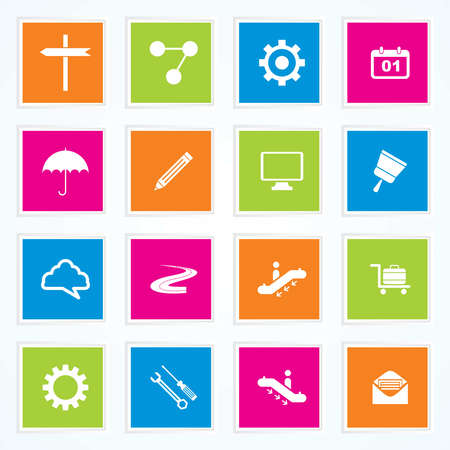 Very Useful   Attractive Colorful Icons For Web   Mobile on Buttons Stock Vector - 26449293