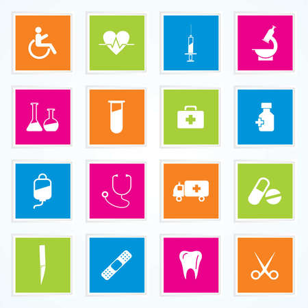 Medical Icons On Colorful Buttons Illustration