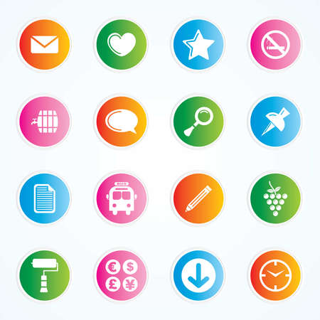 Very Useful   Attractive Colorful Icons For Web   Mobile on Buttons  Vector