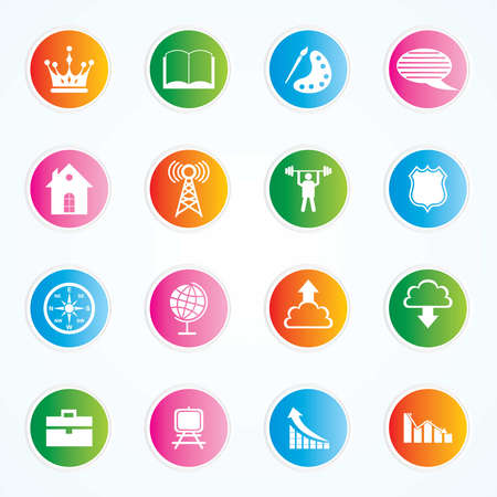Very Useful   Attractive Colorful Icons For Web   Mobile on Buttons Stock Vector - 26449372