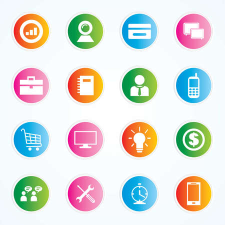 Very Useful   Attractive Colorful Icons For Web   Mobile on Buttons Stock Vector - 26449378