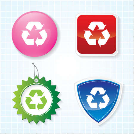 Icon of Recycle on four different buttons   Vector