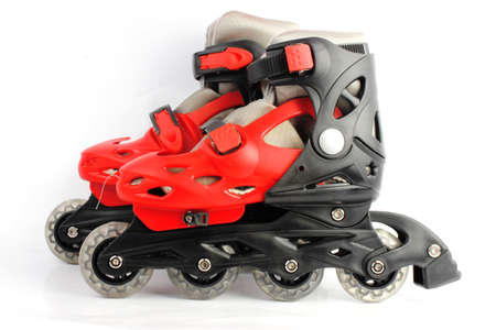 roller blade: Red   Black Colored roller skates isolated on white
