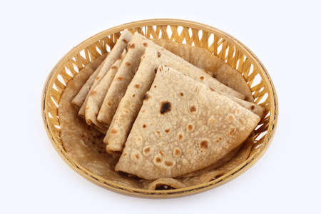 Roti Paratha isolated on white. Indian Bread