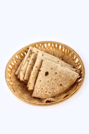 paratha: Roti Paratha isolated on white. Indian Bread