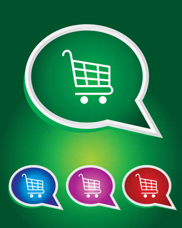 Editable Vector Icon of Shopping Cart On Speech Bubble Shape. Stock Illustratie