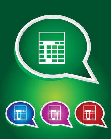 Editable Vector Icon of Calculator On Speech Bubble Shape. Vector