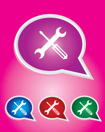 Editable Vector Icon of Tools On Speech Bubble Shape. EPS 10