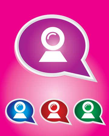 webcam: Editable Vector Icon of Webcam On Speech Bubble Shape. EPS 10