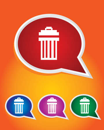 Editable Vector Icon of Garbage can Dustbin On Speech Bubble Shape. EPS 10