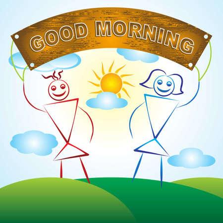 get up: Una pittura per bambini Made Of Buongiorno Vettoriali