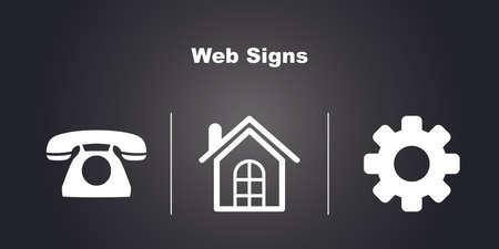 make a call: 3 Web Icons on Black Background. Illustration