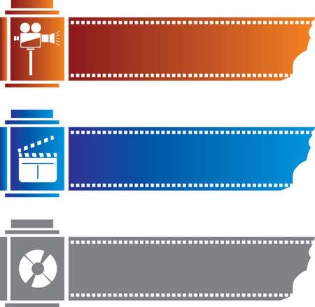 multi media: Tre Multi Media Banners con le icone Vettoriali