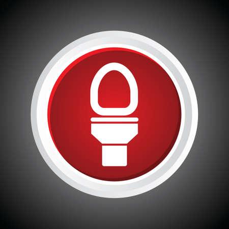 necessity: Icon of Toilet bowl On Button. Eps-10.