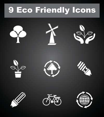 9 Eco Friendly Icons. Vector