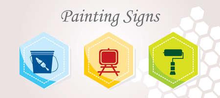 caulk: 3 Painting Icons Illustration