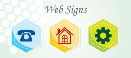 make a call: 3 Web Icons Illustration