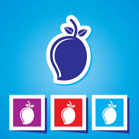 mango fruta: Icono creativo colorido Mango Fruit