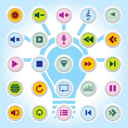player controls: Media player Icons On Colour Buttons Backgrounds Eps-10 Illustration