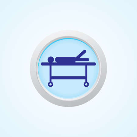 appropriate: stretcher (Patient on stretcher) On Button. Illustration