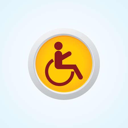 paralyze: handicap or wheelchair person On Button. Illustration