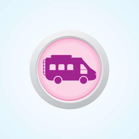 Icon of Motor Van on button. Vector