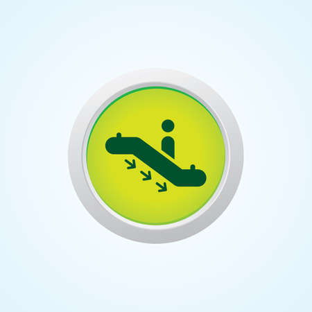 bajando escaleras: Icono de Abajo Escaleras en el bot�n. Eps-10.