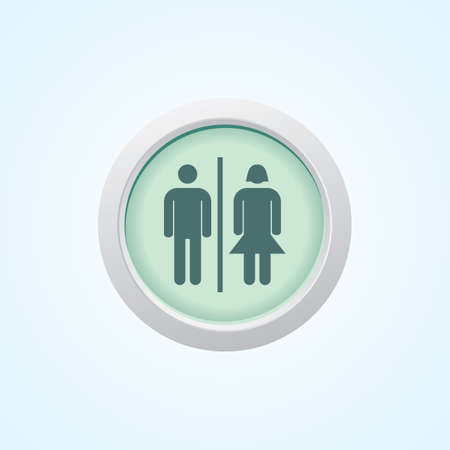he and she: Icon of He She Facility on Button. Eps-10.