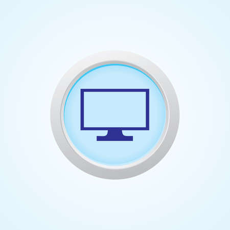 liquid crystal display: Icon of TV LCD Monitor on Button. Eps-10 Illustration