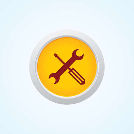 bricolage: Icon of Tools on Button. Eps-10. Illustration